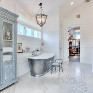 Inspiration for a huge country master gray tile, white tile and stone tile marble floor bathroom remodel in Orange County with beaded inset cabinets, white cabinets, marble countertops, white walls and an undermount sink