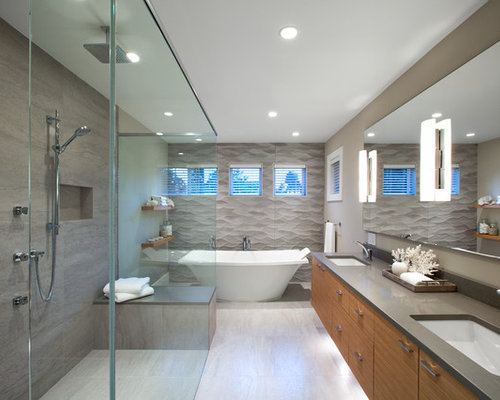 large trendy master gray tile and porcelain tile porcelain floor bathroom photo in vancouver with flat