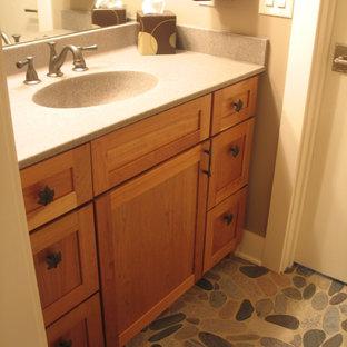 インディアナポリスの小さいおしゃれな子供用バスルーム (シェーカースタイル扉のキャビネット、中間色木目調キャビネット) の写真