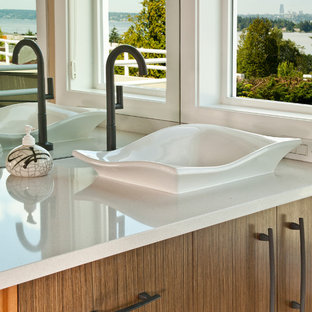 Double shower - large asian master white tile and porcelain tile porcelain floor double shower idea in Seattle with a vessel sink, flat-panel cabinets, medium tone wood cabinets, engineered quartz countertops, a two-piece toilet and beige walls