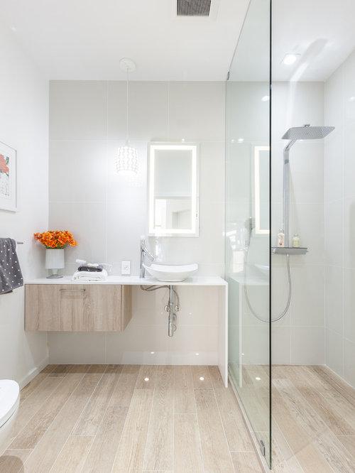 Bathroom wood tile floor