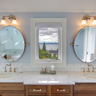 Inspiration for a cottage subway tile bathroom remodel in Seattle with an undermount sink