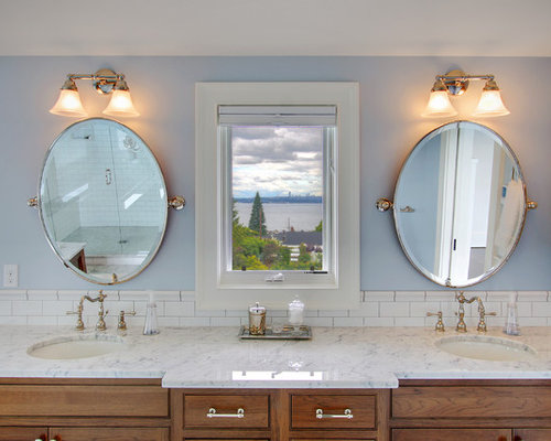 Inspiration For A Farmhouse Subway Tile Bathroom Remodel In Seattle With An Undermount Sink