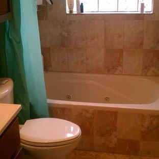 シカゴの中サイズのトラディショナルスタイルのおしゃれな子供用バスルーム (ドロップイン型浴槽、シャワー付き浴槽、一体型トイレ、ベージュのタイル、セラミックタイル、ベージュの壁、セラミックタイルの床) の写真