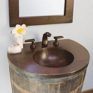 Bathroom - contemporary bathroom idea in Atlanta with copper countertops