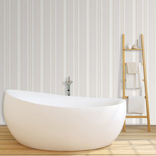 Inspiration for a modern bathroom remodel in Wilmington with multicolored walls