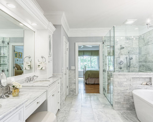 Bathroom   Traditional Master Gray Tile Gray Floor Bathroom Idea In  Columbus With Recessed Panel