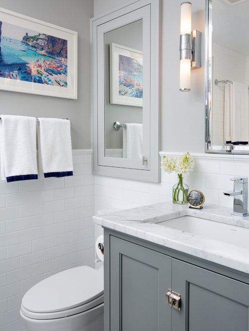 example of a transitional white tile and subway tile bathroom design in columbus with an undermount - Bathroom Cabinets Grey