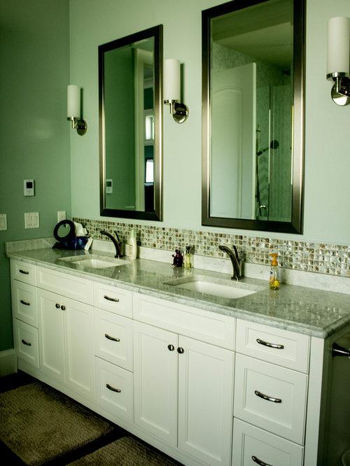 Bathroom Design Ideas Renovations Photos With Dark Hardwood Floors And Green Tile