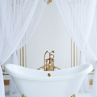 Inspiration For A Victorian Claw Foot Bathtub Remodel In San Francisco With White Walls