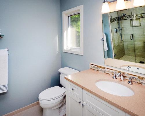 Bathroom design ideas renovations photos with orange for Orange and blue bathroom designs