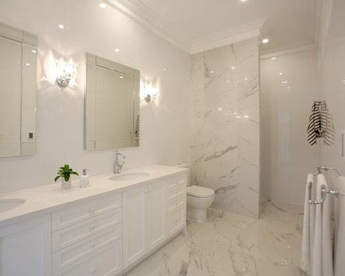 design ideas for a large beach style master bathroom in adelaide with shaker cabinets white - Multi Bathroom Design
