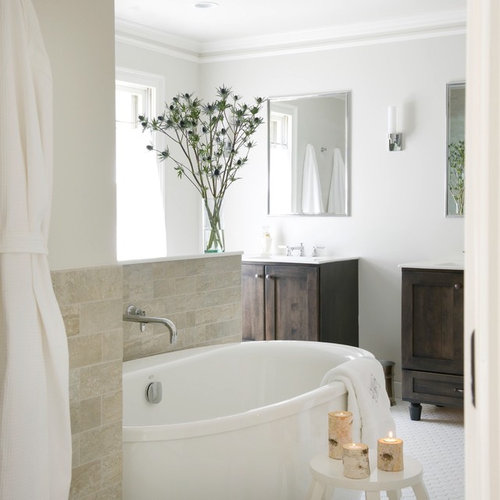 Example of a mid sized transitional master porcelain floor and white floor  bathroom design in. Bertch Vanity   Houzz