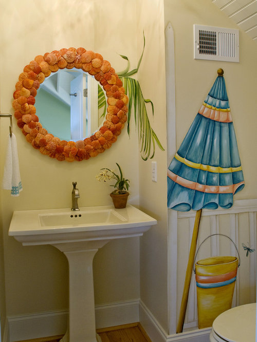 Inspiration For An Eclectic Bathroom Remodel In Raleigh With A Pedestal Sink