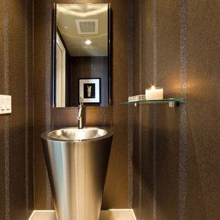 Minimalist bathroom photo in Las Vegas with a pedestal sink