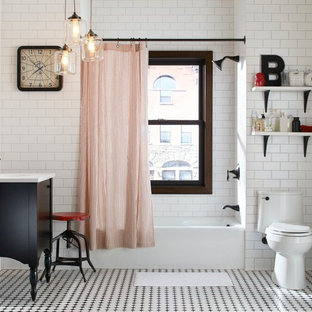 Beau Example Of A Mid Sized Country Master Black And White Tile, White Tile And