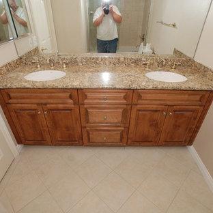 Mid Sized Elegant Master Beige Tile And Ceramic Tile Ceramic Floor Bathroom  Photo In Orange