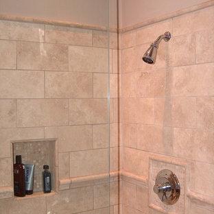Kohler Tub With Travertine Shower Frameless Shower doors