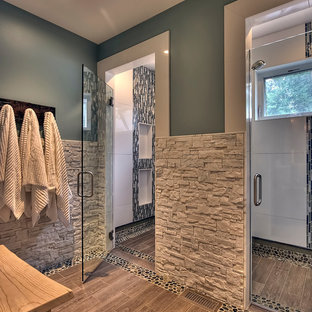 Inspiration for a transitional matchstick tile bathroom remodel in Seattle
