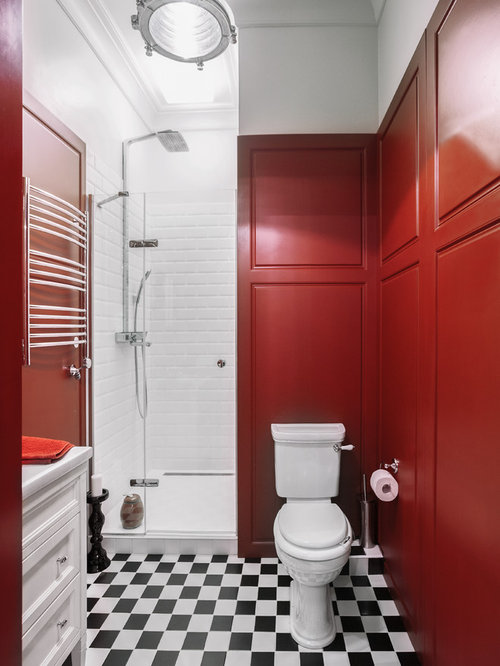 Eclectic Bathroom Design Ideas Renovations Photos With Red Walls