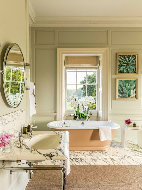 Photo Of A Large Classic Bathroom In Other With A Freestanding Bath, Green  Walls,