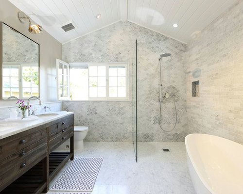 inspiration for a transitional walk in shower remodel in los angeles with an undermount sink. beautiful ideas. Home Design Ideas