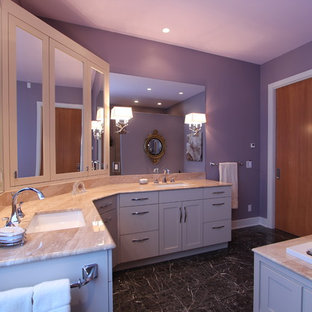 L Shaped Vanity Provides Maximum Storage and Countertop Space