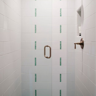 Small coastal 3/4 green tile and ceramic tile alcove shower photo in San Francisco