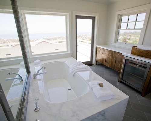Grey Contemporary Bathroom With A Drop In Tub And Alcove: Undermount Tubs