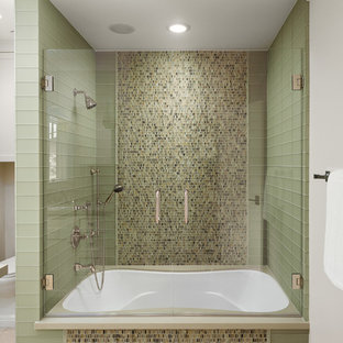 Photo of a contemporary family bathroom in Los Angeles with a shower/bath combination and a hinged door.