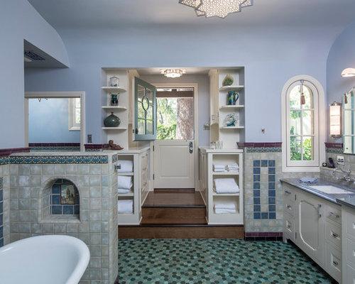 Bagni Blu Mosaico : Febland blu mosaico di vetro da bagno set amazon casa e cucina