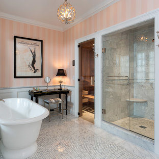 Bathroom - huge traditional master white tile and marble tile mosaic tile floor bathroom idea in New York with pink walls and a hinged shower door