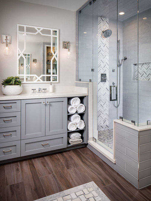 Design Ideas For Home home design 10 home decor on home design home design classic home design Transitional Master Corner Shower Photo In San Diego With Gray Cabinets A Freestanding Tub