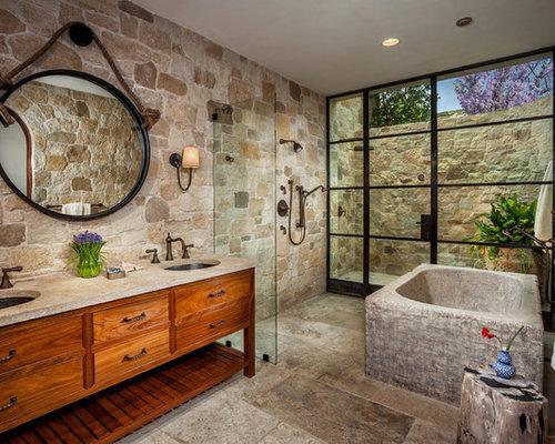 mediterrane b der mit kalkstein waschbecken waschtisch. Black Bedroom Furniture Sets. Home Design Ideas