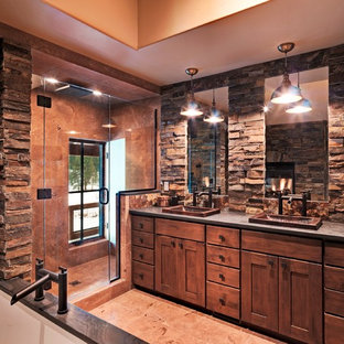 Alcove shower - rustic stone tile and brown tile alcove shower idea in Sacramento with a drop-in sink, shaker cabinets and medium tone wood cabinets