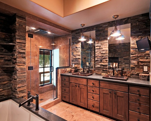 SaveEmail. Houzz   Rustic Bathroom with Brown Tile Design Ideas   Remodel