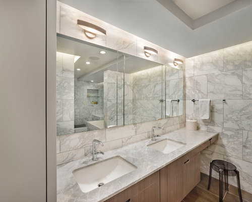 photo of a mid sized contemporary master bathroom in new york with an undermount sink