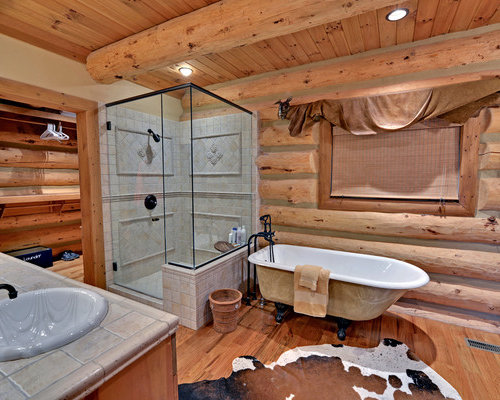 Cabin bathroom houzz for Log home bathroom ideas