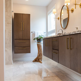 Large 1960s master gray tile and stone tile marble floor and beige floor bathroom photo in Chicago with flat-panel cabinets, medium tone wood cabinets, gray walls, an undermount sink and granite countertops