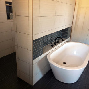 Bathroom - craftsman gray tile and glass tile bathroom idea in Other