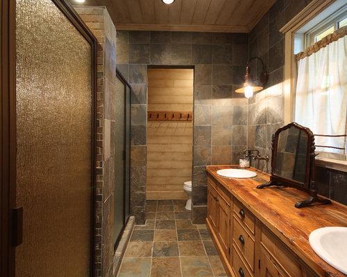 Petite salle de bain avec du carrelage en ardoise photos for Pose d une cabine de douche