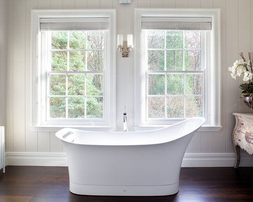 inspiration for a transitional bathroom remodel in london with dark hardwood floors and a freestanding tub - Bathroom Window