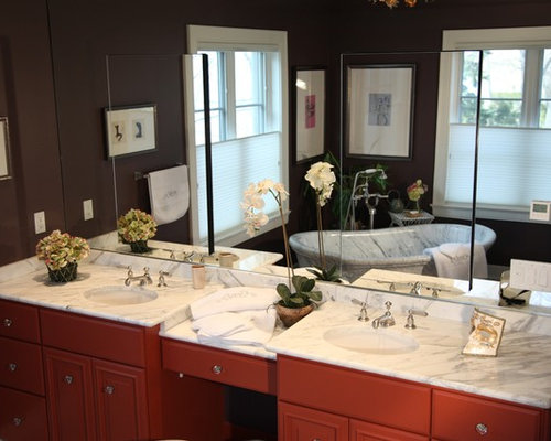 ... Ideas, Pictures, Remodel & Decor with Red Cabinets and Marble Floors
