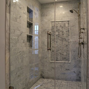 Double Shower   Mid Sized Traditional Master White Tile And Terra Cotta  Tile Mosaic