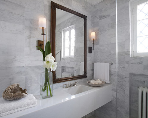 Small transitional gray tile and marble tile bathroom photo in Chicago with  an integrated sink,