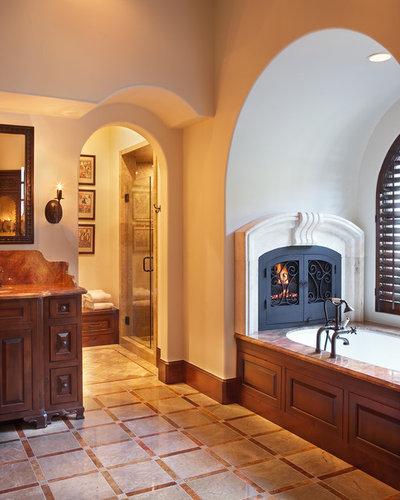 Mediterranean Bathroom by Cornerstone Architects