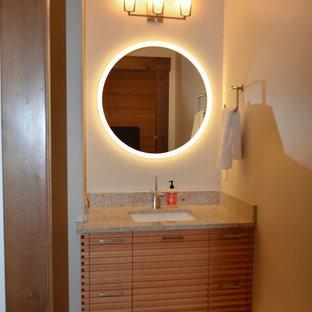 На фото: детская ванная комната среднего размера в стиле лофт с фасадами островного типа, коричневыми фасадами, душем в нише, писсуаром, разноцветной плиткой, керамогранитной плиткой, коричневыми стенами, полом из керамогранита, врезной раковиной, столешницей из гранита, бежевым полом и душем с распашными дверями с