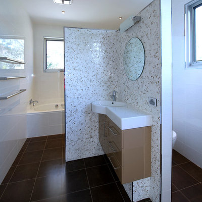 Trendy porcelain tile porcelain tile bathroom photo in Sydney with an undermount sink, flat-panel cabinets, beige cabinets and white walls