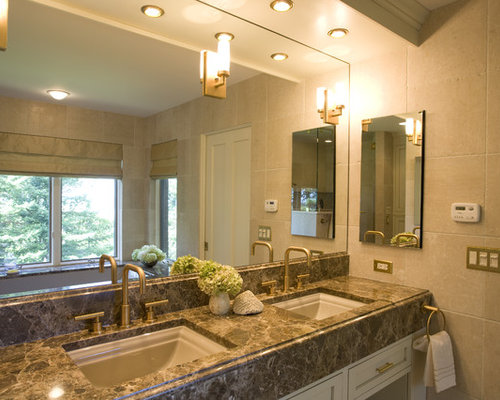 elegant bathroom photo in new york with marble countertops - Kohler Memoirs