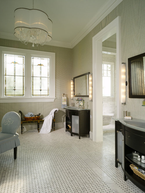 Example Of A Classic Bathroom Design In Other With Black Cabinets